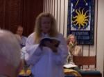 Rev. Kebba leads the service at Palo Cristi.